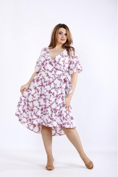 Фото Легкое летнее платье с малиновыми цветами | 01223-3