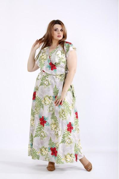 Фото Красивое длинное бежевое платье | 01224-3
