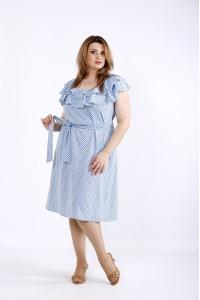 Фото Синє плаття в горошок | 01225-1