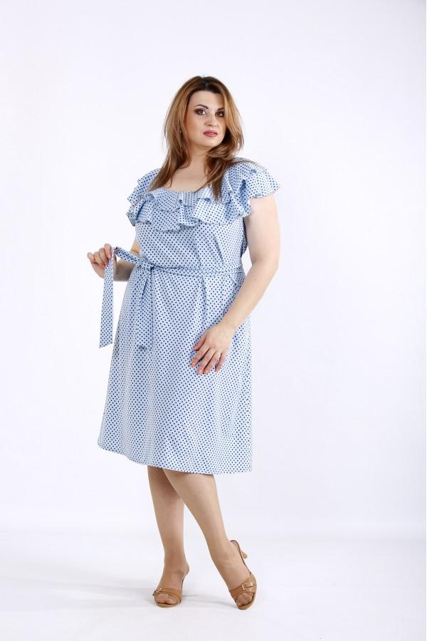 Фото Голубое платье в горошек | 01225-1