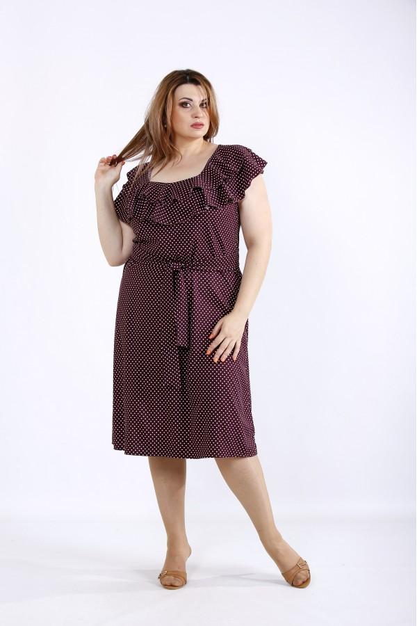 Фото Бордовое платье в горошек | 01225-2