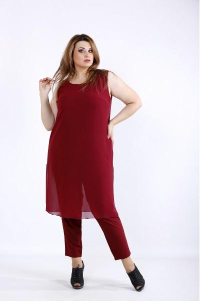 Фото Бордовий комплект: штани і туніка | 01227-2