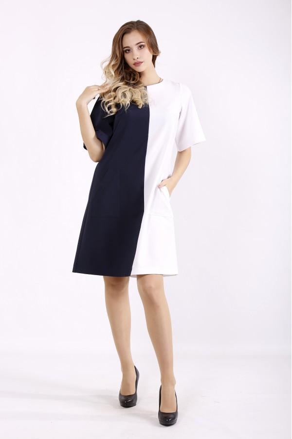 Фото Сине белое платье выше колена | 01228-1