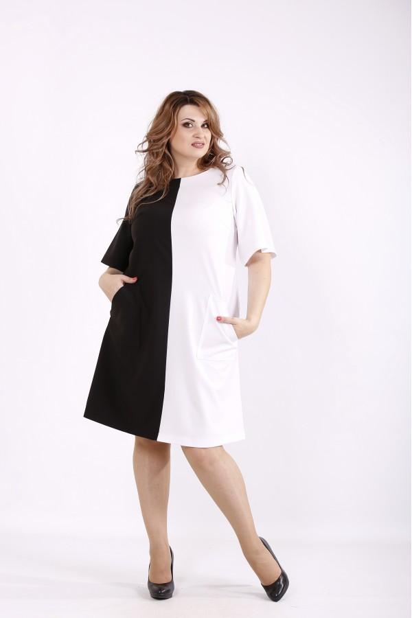 Фото Черно-белое двухцветное платье | 01228-2