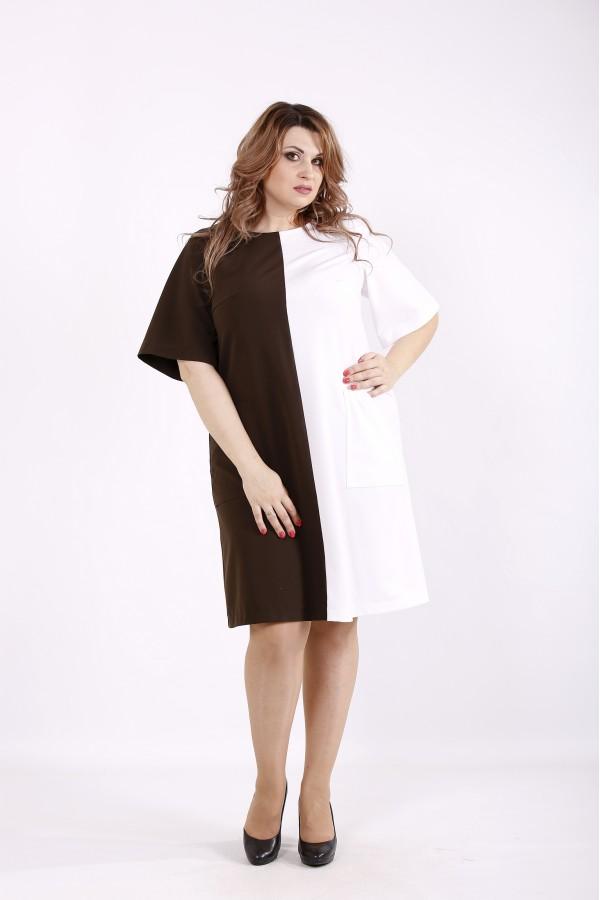 Фото Плаття коричневе з білим | 01228-3