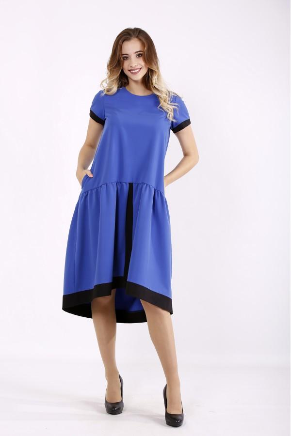 Фото Платье электрик со свободной юбкой | 01229-1
