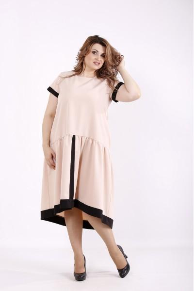 Фото Бежевое свободное платье | 01229-2