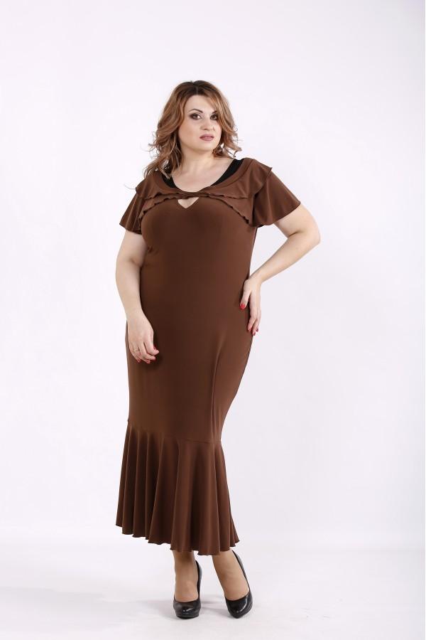 Фото Коричневе плаття максі | 01233-1