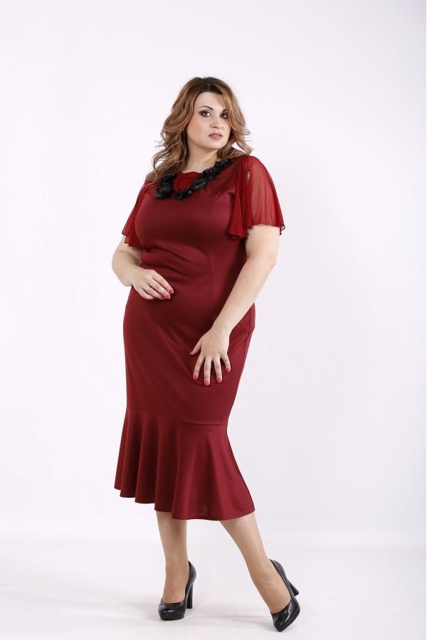 Фото Бордовое нарядное платье | 01234-1