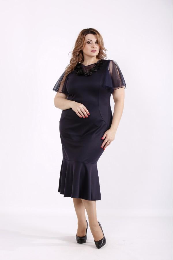 Фото Темно-синее платье с сеткой на рукавах | 01234-2