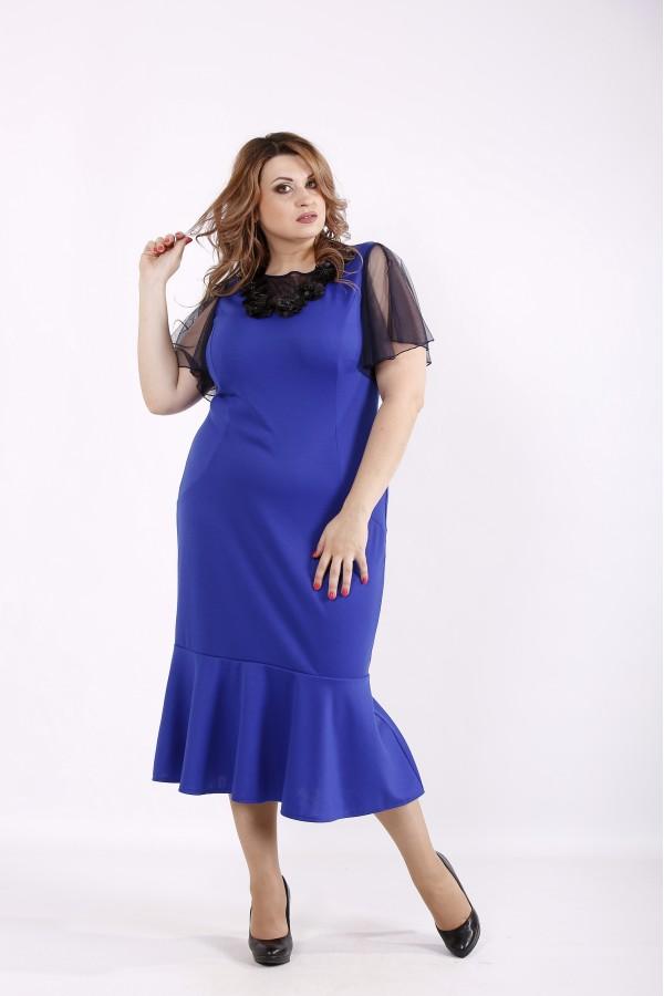 Фото Трикотажное платье электрик | 01234-3