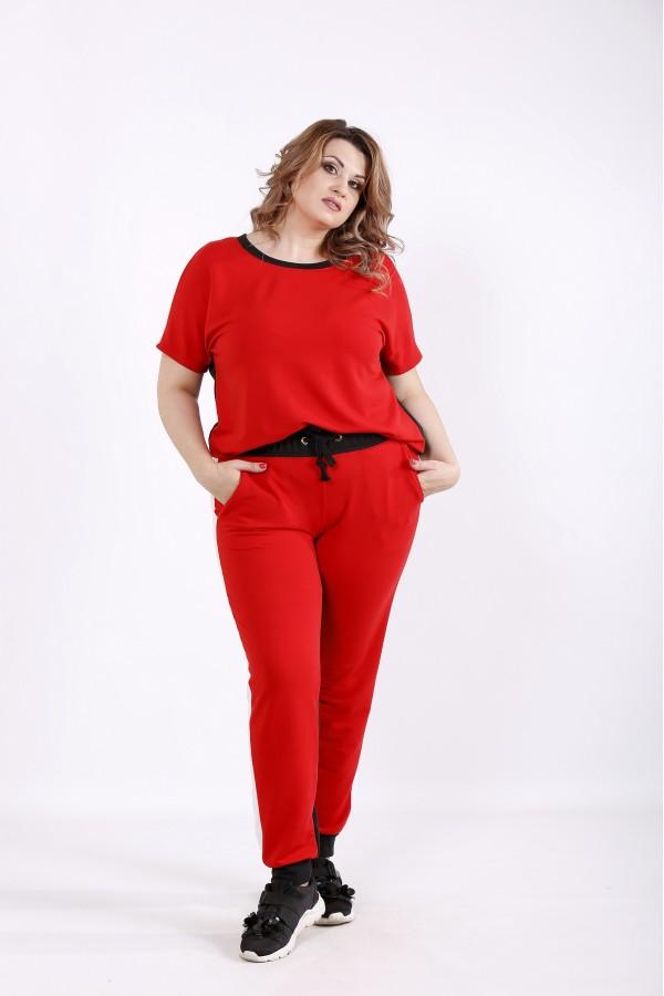 Фото Яскраво-червоний з чорним спортивний костюм | 01236-2