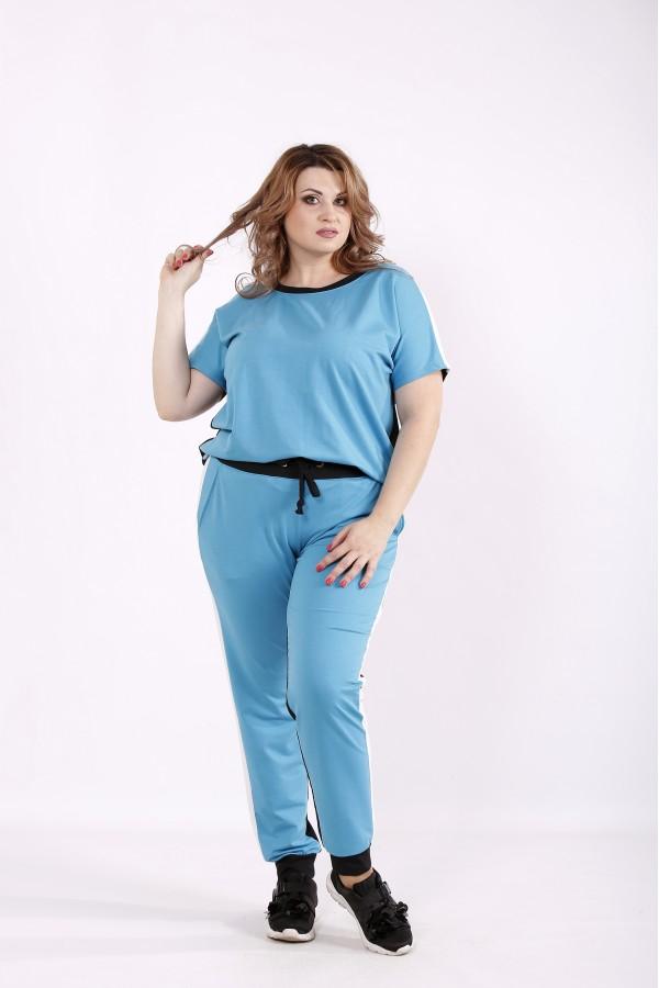 Фото Блакитний з чорним спортивний костюм | 01236-3