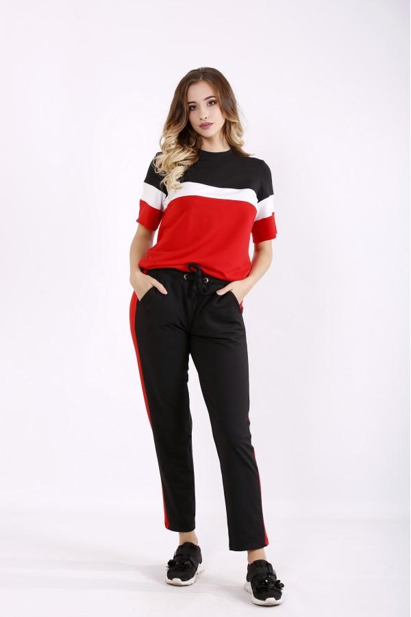 Фото Яскраво-червоний практичний спортивний костюм з двухніткі | 01237-1