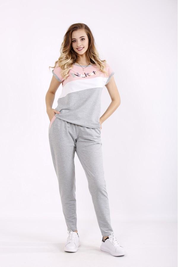 Фото Серый с розовым спортивный костюм   01239-1