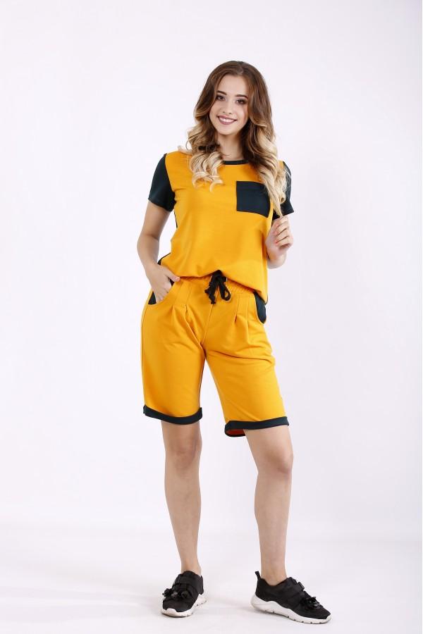 Фото Летний оранжевый спортивный костюм с шортами | 01240-1