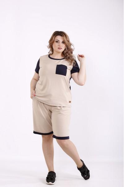 Фото Бежевый спортивный костюм с шортами | 01240-2