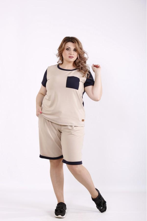 Фото Бежевый спортивный костюм с шортами   01240-2