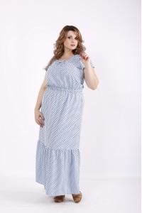 Фото Платье голубое в горошек макси | 01242-1