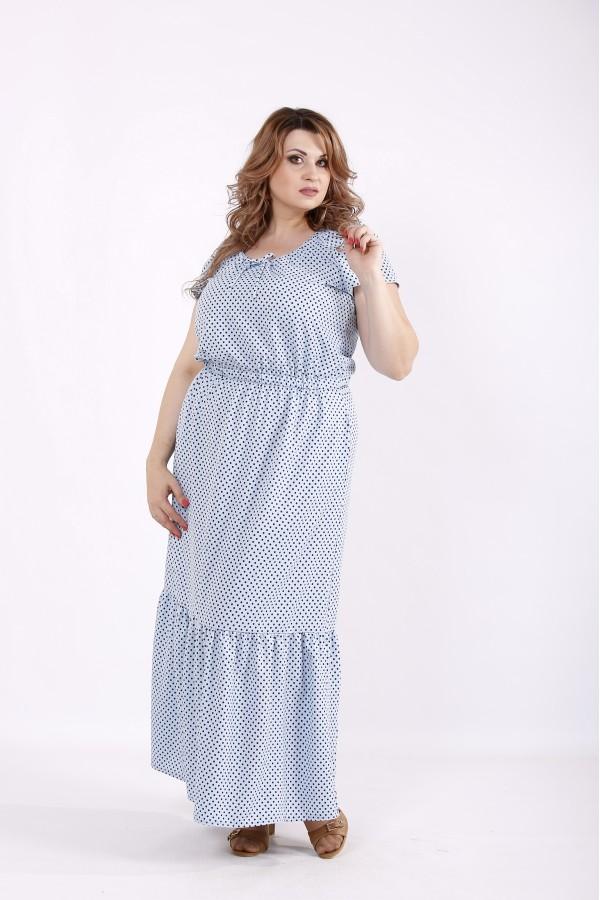 Фото Сукня блакитна в горошок максі | 01242-1