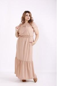 Фото Бежевое платье в горошек в пол   01242-2