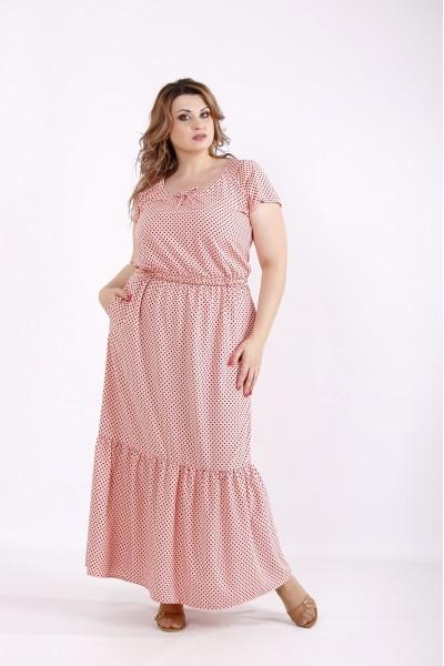 Фото Платье персиковое в горох | 01242-3