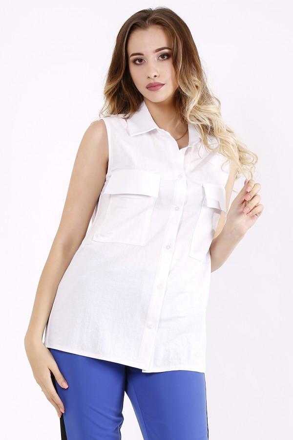 Фото Белая блузка без рукавов | 01246-1
