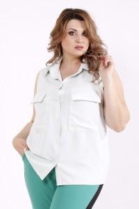 Фото Летняя блузка без рукавов шалфей | 01246-2