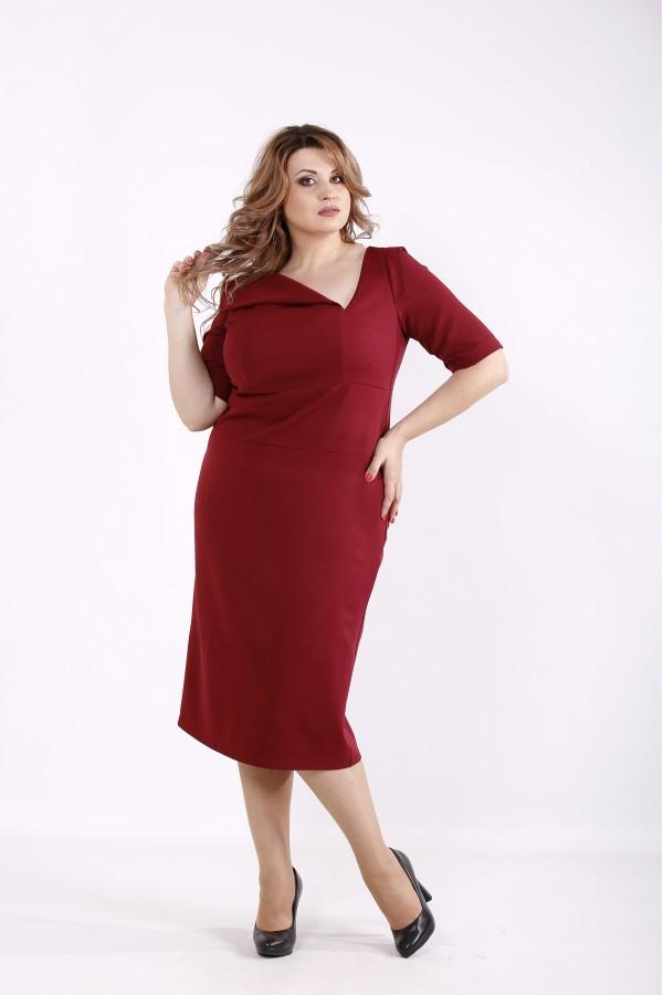 Фото Бордове стильне плаття | 01248-2