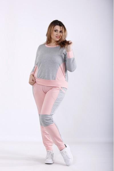 Фото Рожевий спортивний костюм з двухніткі | 01251-2