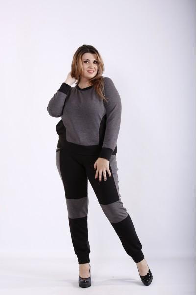 Фото Темно-серый спортивный костюм из двухнитки | 01251-3