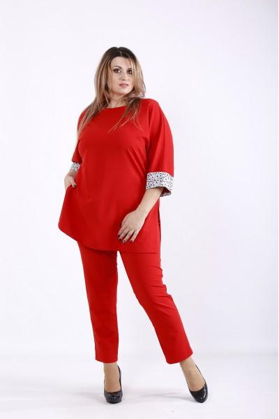 Фото Красный костюм: брюки и туника | 01254-2