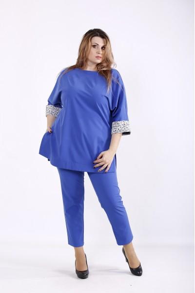 Фото Костюм-двійка кольору електрик: брюки і туніка | 01254-3