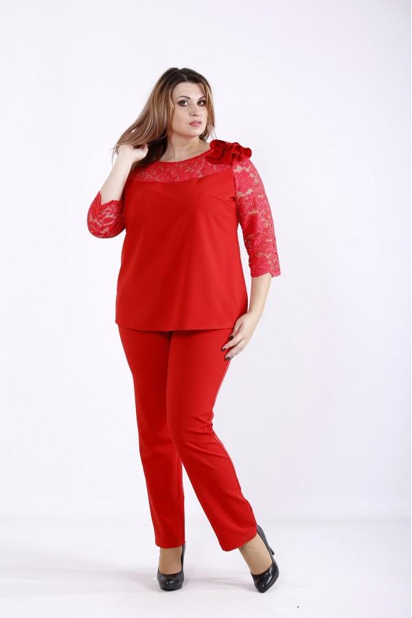 Фото Алый костюм: брюки и блузка | 01255-1