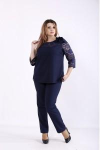 Фото Темно-синий костюм: брюки и блузка | 01255-3