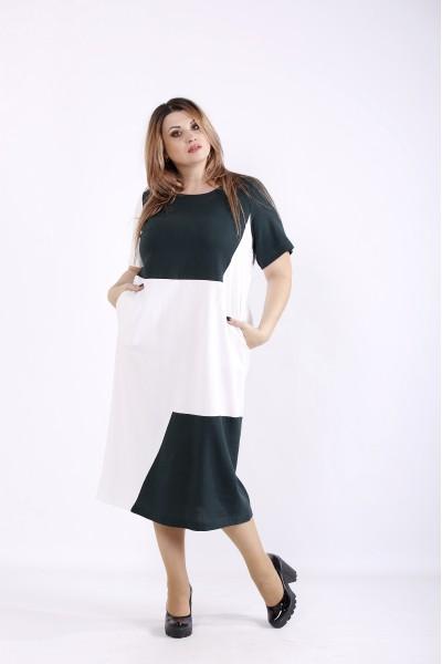 Фото Зеленое с белым платье из льна | 01256-2