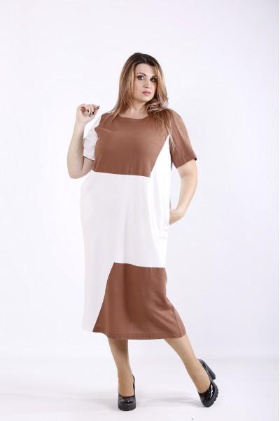 Фото Коричневое с белым платье ниже колена | 01256-3