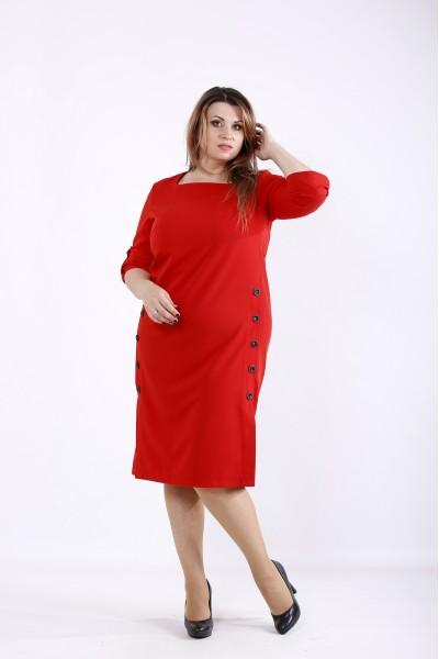 Фото Красивое красное платье до колена | 01257-2