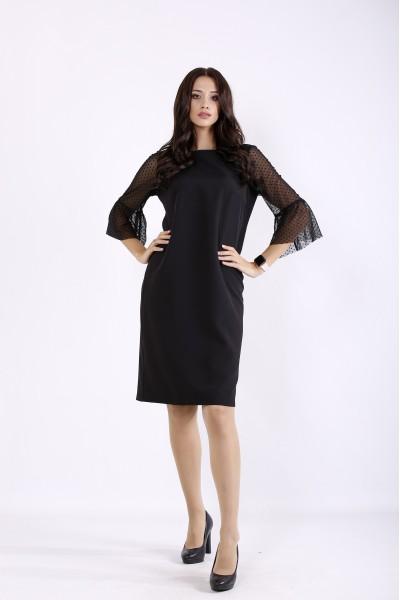 Фото Черное прямое платье с сеткой на рукавах | 01264-1