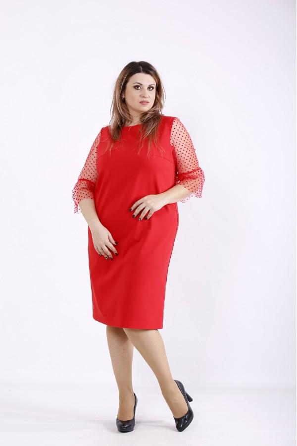 Фото Красное прямое платье с сеткой | 01264-2