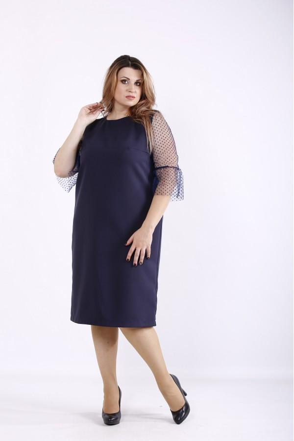Фото Темно-синее удобное прямое платье   01264-3