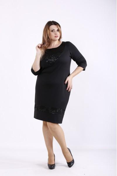 Фото Черное элегантное платье с вставками из гипюра | 01265-1