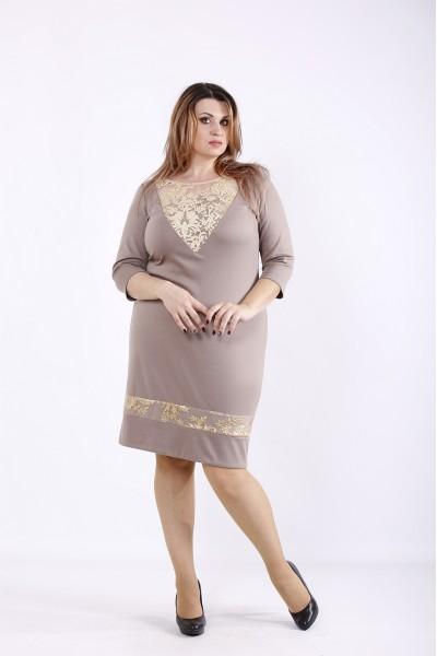 Фото Бежеве ошатне плаття з золотим гіпюром   01265-3
