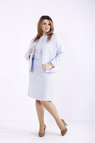 Фото Голубой повседневный костюм: платье и жакет | 01266-3