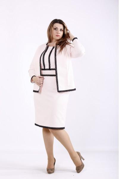 Фото Ошатний рожевий костюм: сукня і жакет | 01267-1