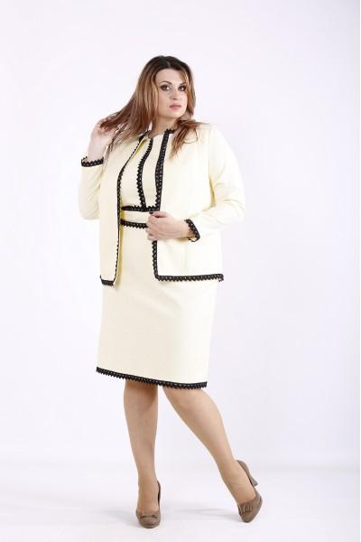 Фото Жовтий ошатний костюм: сукня і жакет | 01267-3