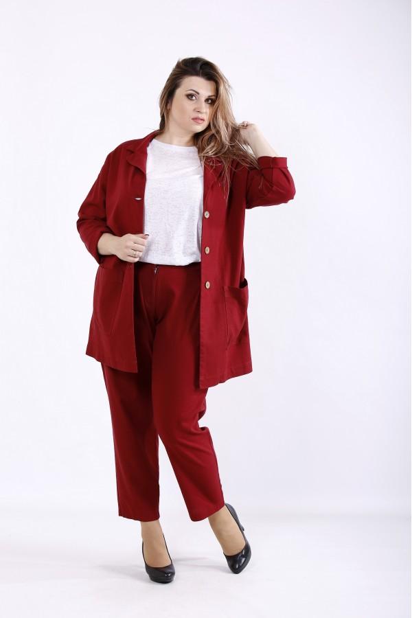 Фото Модный бордовый костюм: брюки и пиджак | 01270-2