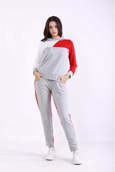 Фото Сірий з червоним спортивний костюм | 01271-1