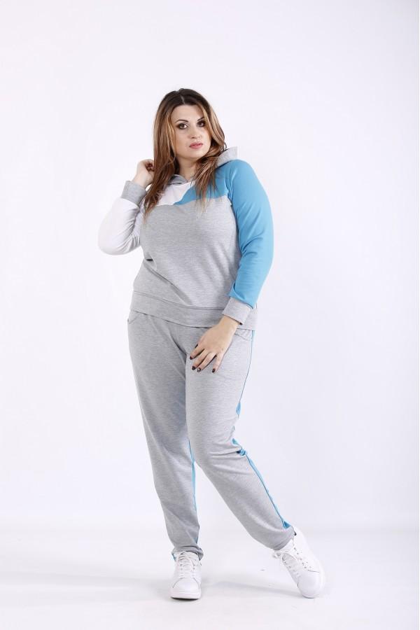 Фото Практичный серо-голубой спортивный костюм   01271-2