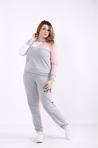 Фото Зручний сіро-рожевий спортивний костюм | 01271-3
